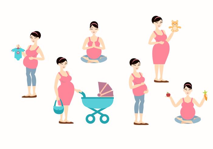 Pregnant mom vector illustration