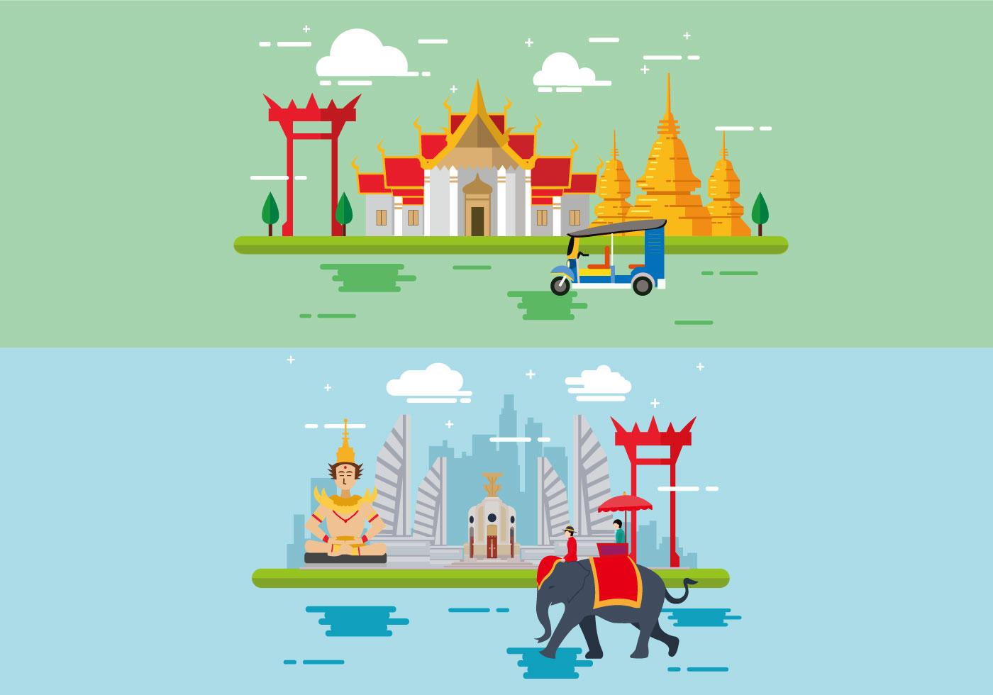 Wonderful Bangkok Flat Design Download Free Vector Art