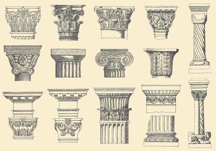 Pilares históricos vector