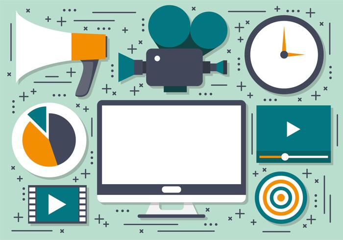 Iconos Vector Video Marketing