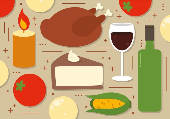 Ilustración de comida de Acción de Gracias vector