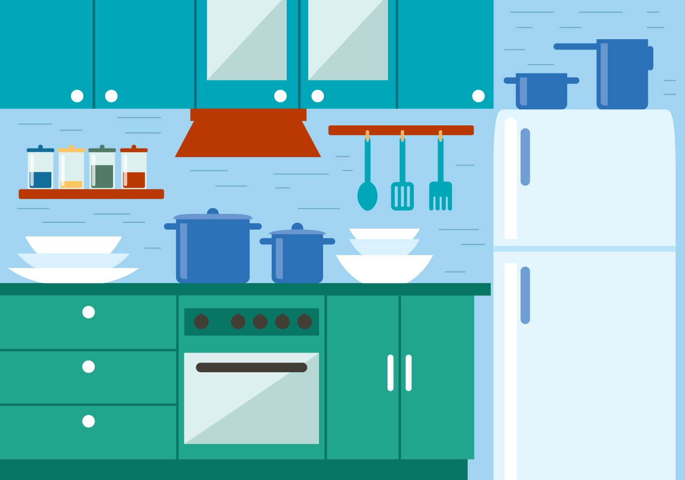 Free kitchen vector illustration download free vector for Kitchen design vector