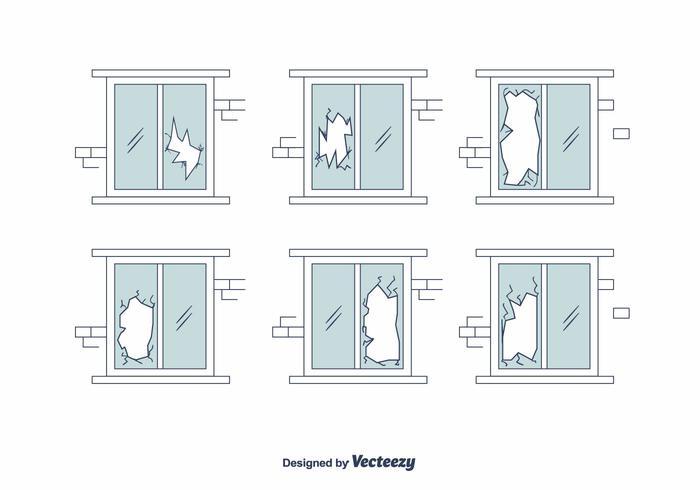 Conjunto de vector de ventana roto