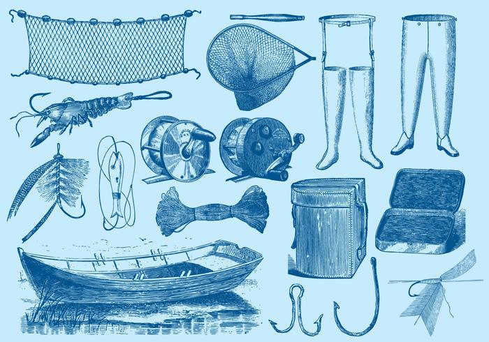 Herramientas de pesca vintage vector