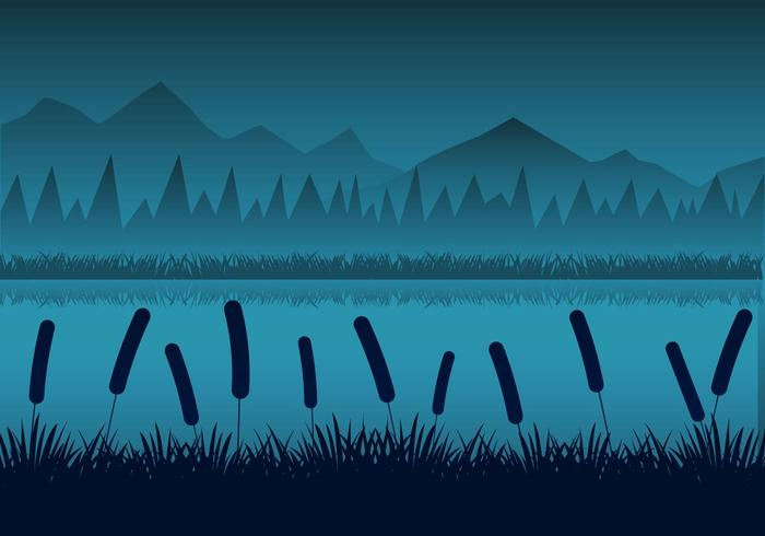 Gratis Night Rivers Landskap med Reeds Silhouttes Vector