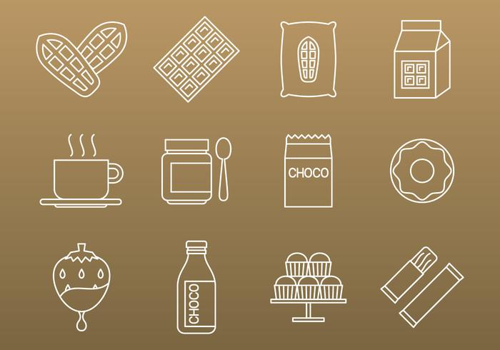 Icônes de cacao et de chocolat