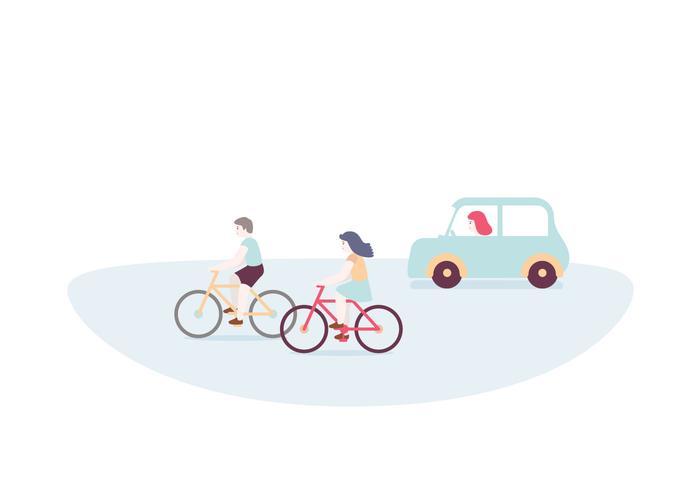 Cycling Driving Illustration