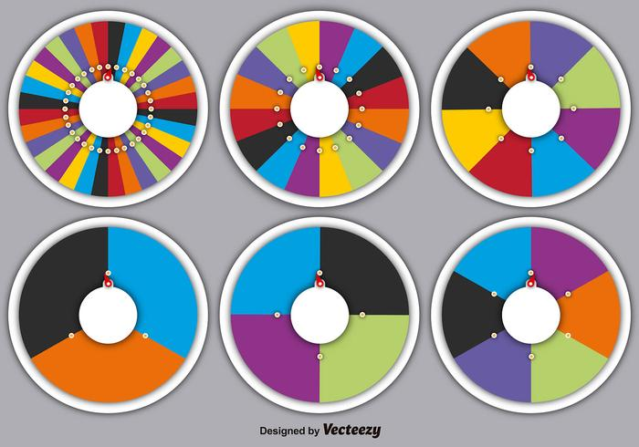 Vector Set Of Spinning Wheels Of Fortune