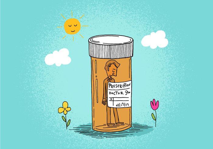 Hombre de la botella de la prescripción vector