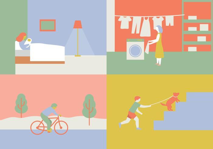 Vier Scènes Illustratie