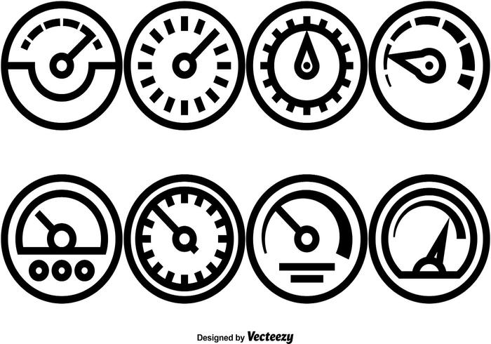Vector Set Of Tachometer Icons