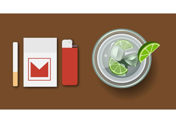 Vector illustration of Cocktail Caipirinha top view