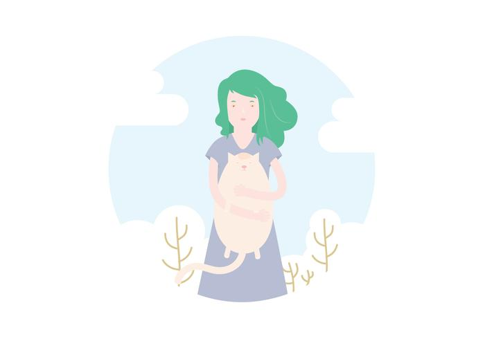 Kat Illustratie Van Het Meisje