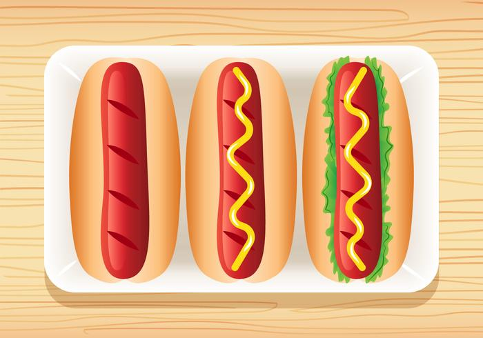 3 Delicious Hotdog Vectors