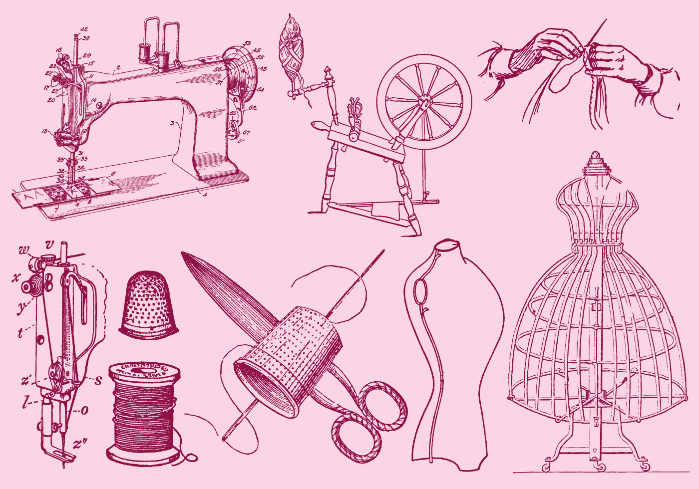 Fashion And Sewing Drawing - Download Free Vectors ...
