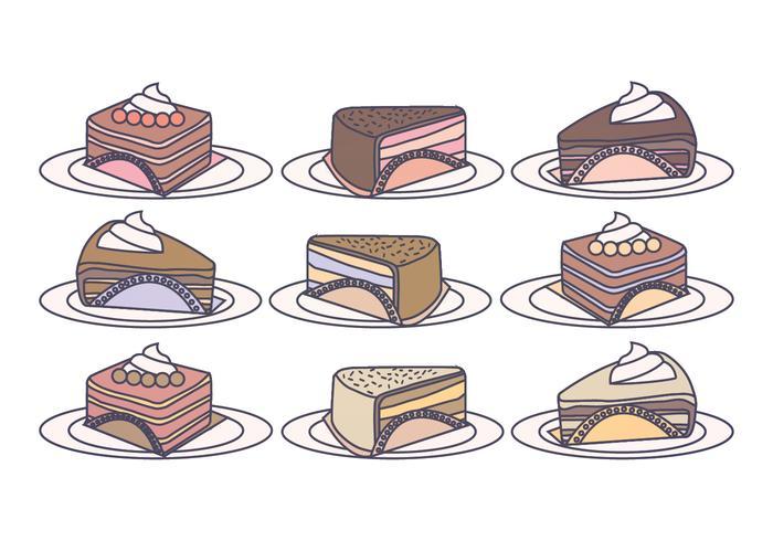 Vector rebanadas de la torta