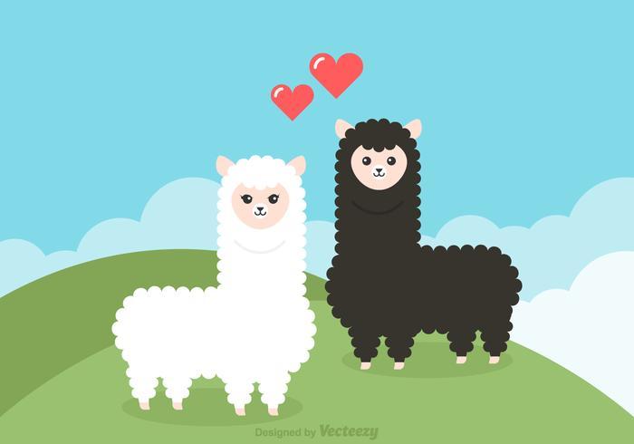 Free Cartoon Alpaca Couple Vector Illustration