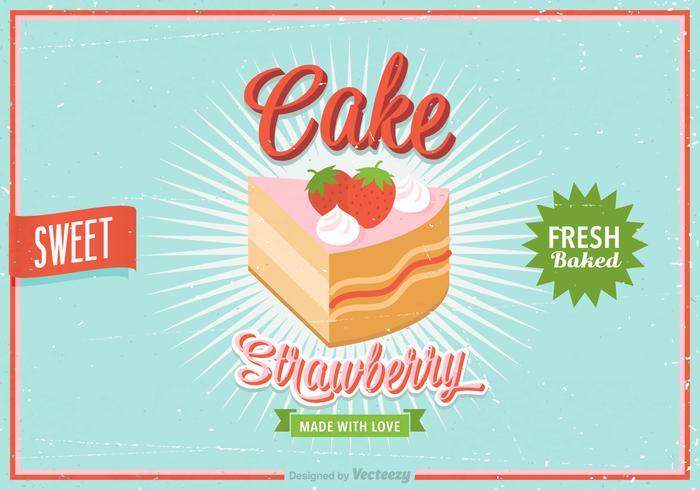 Freier Erdbeer-Shortcake Retro-Vektor-Plakat