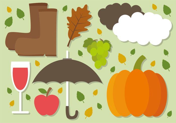 Elementos de vetor de outono plano grátis