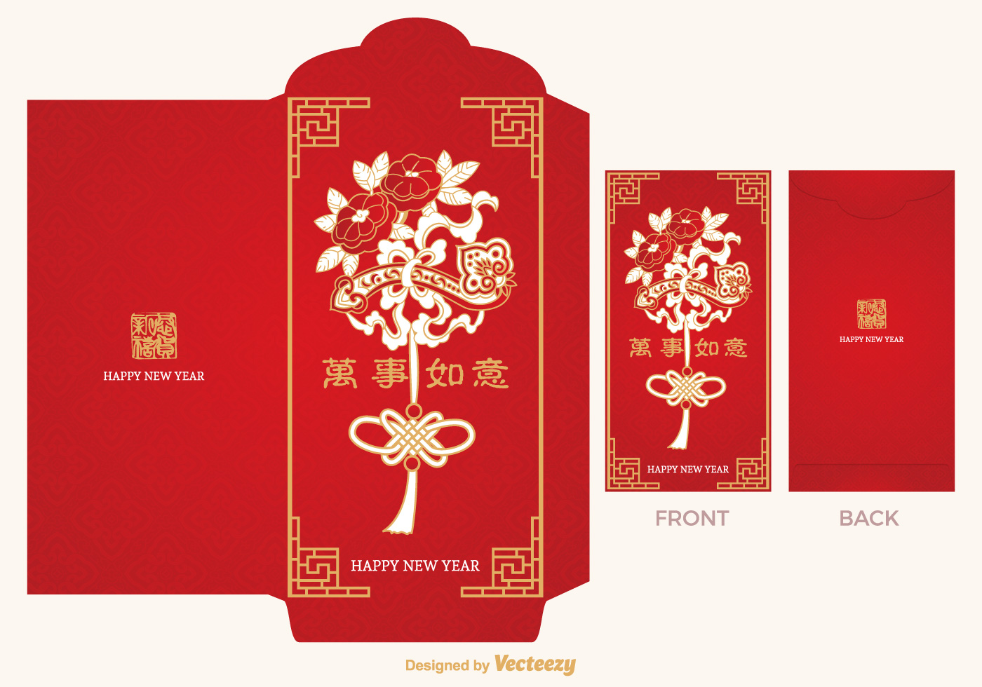 chinese red packet vector template
