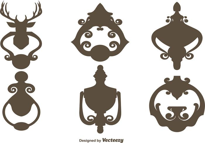 Vector Set Of Black Silhouettes Door Knockers