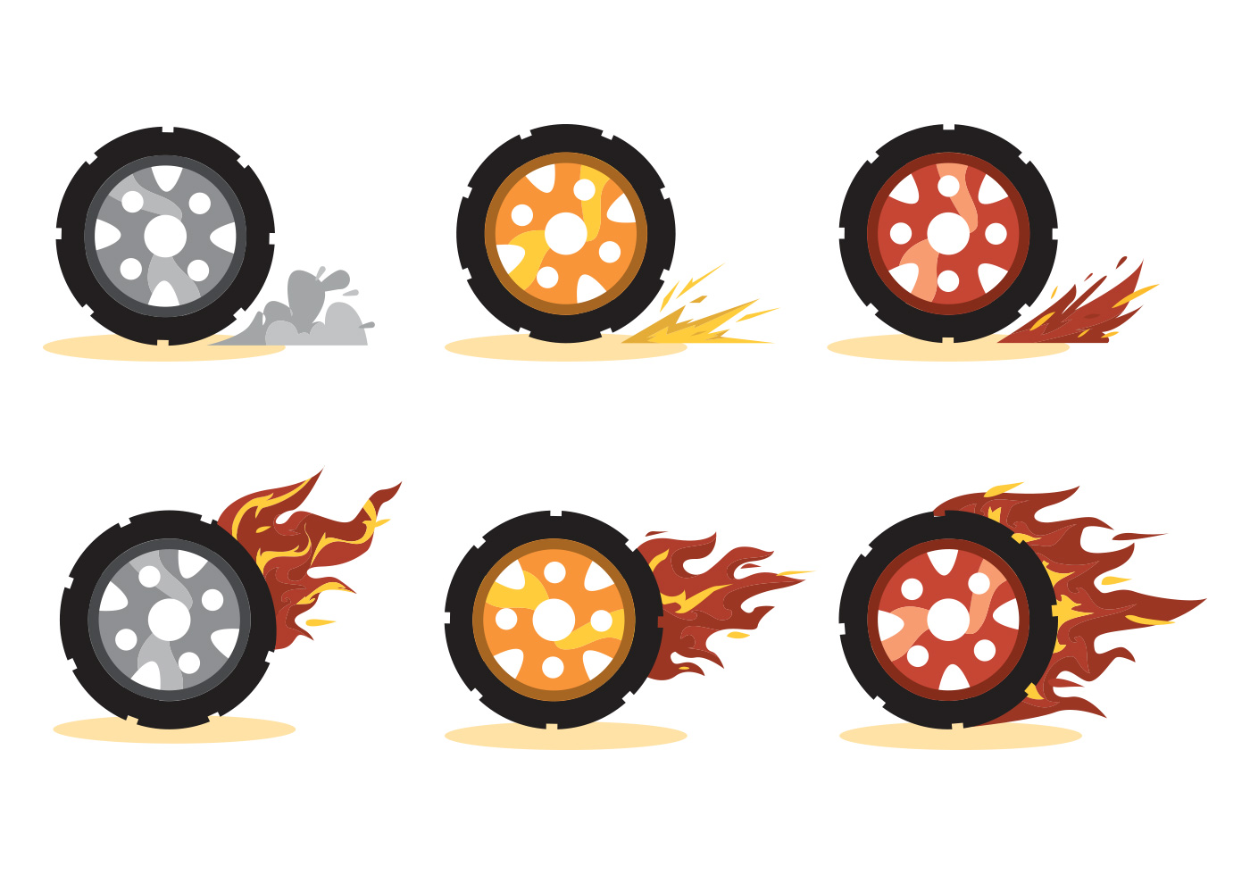Burnout Wheel Vector Set Download Free Vector Art Stock