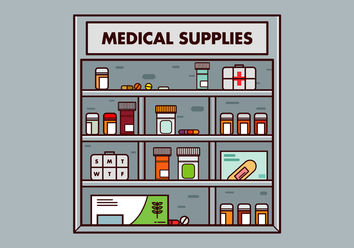 Free Pill Box and Medical Supplies Vector