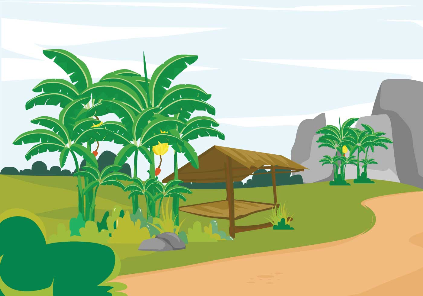 Landscape Illustration Vector Free: Free Banana Tree Landscape Illustration