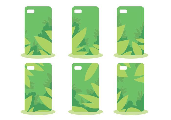 Verde selva teléfono caso patrón conjunto de vectores