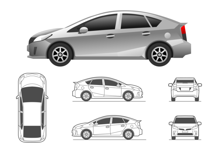 Illustration Toyota Prius Download Free Vector Art