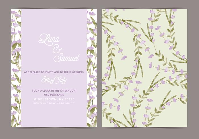 Lavender Vector Wedding Invite