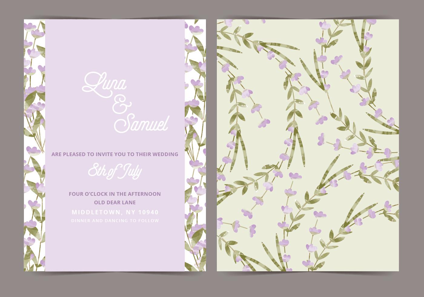 Lavender Vector Wedding Invite - Download Free Vector Art, Stock ...
