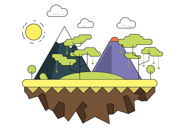 Forested Mountain Vector Landscape