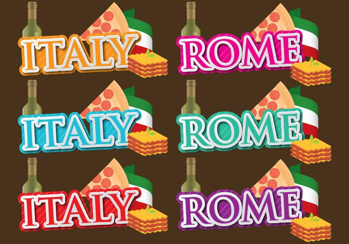 Italy And Rome Titles vector