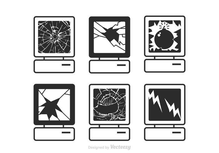 Vector Computer Broken Screen Icons