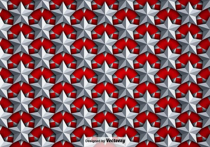 Vector Background With Silver 3D Stars Seamless Pattern