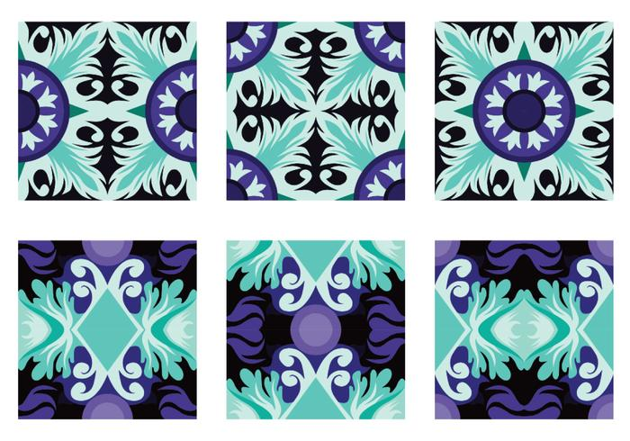 Teal och lila Portuguesse Tile Vector