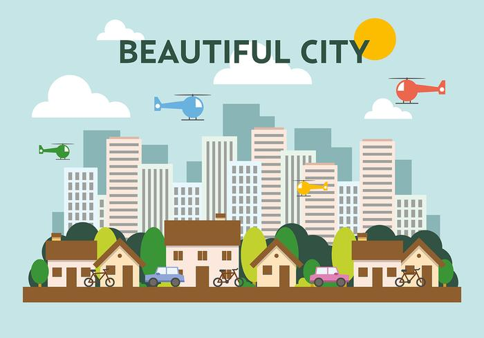 Suburban Flat Cityscape Vector Illustration