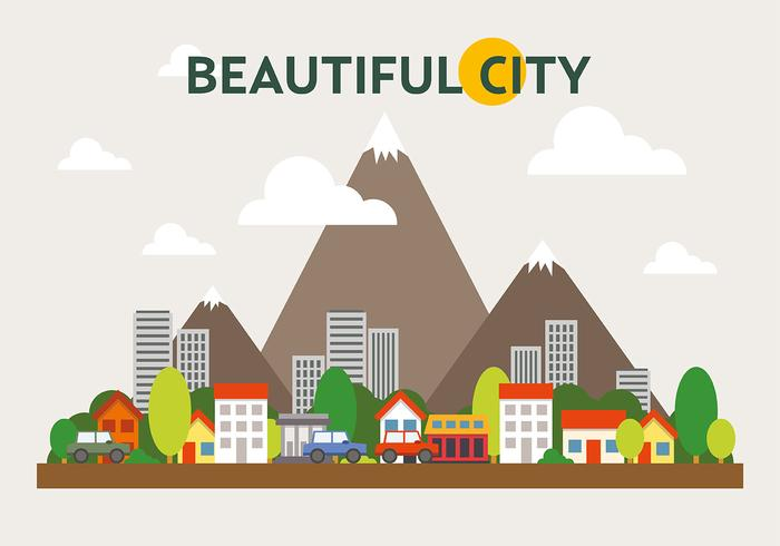 Mountainous Cityscape Vector Illustration