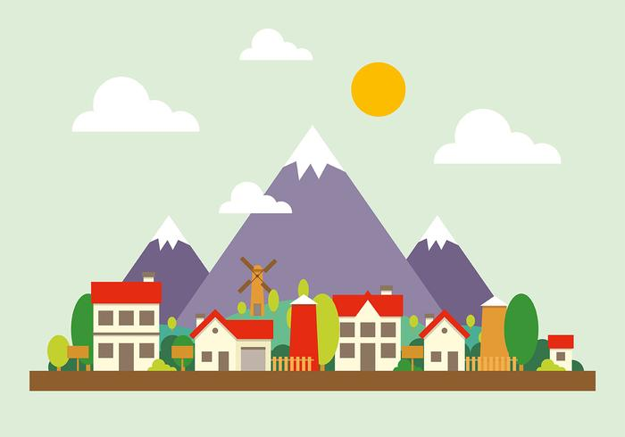 Mountain Cityscape Vector Illustration