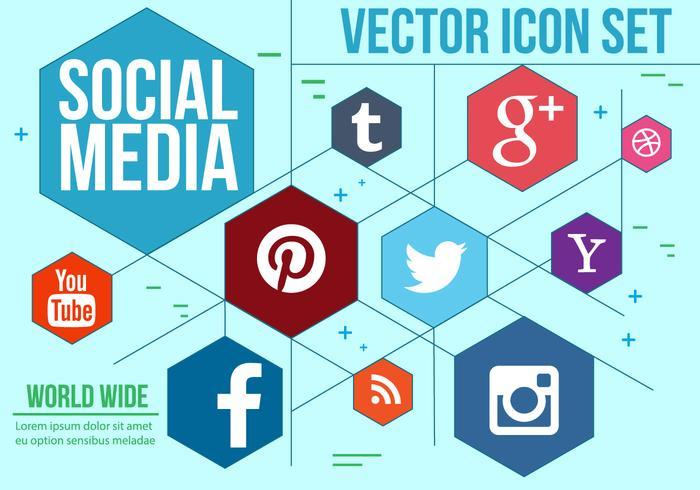 Hexagonal Social Icons Vector