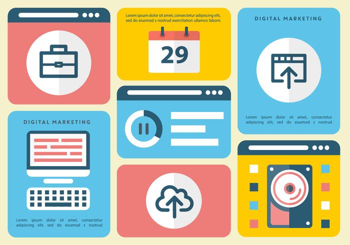 Flat Digital Marketing Vector Infography gratuito