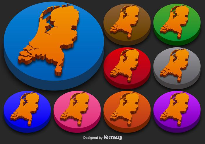 Netherlands State Vector 3D Silhouettes Colorful Netherlands Icon Buttons