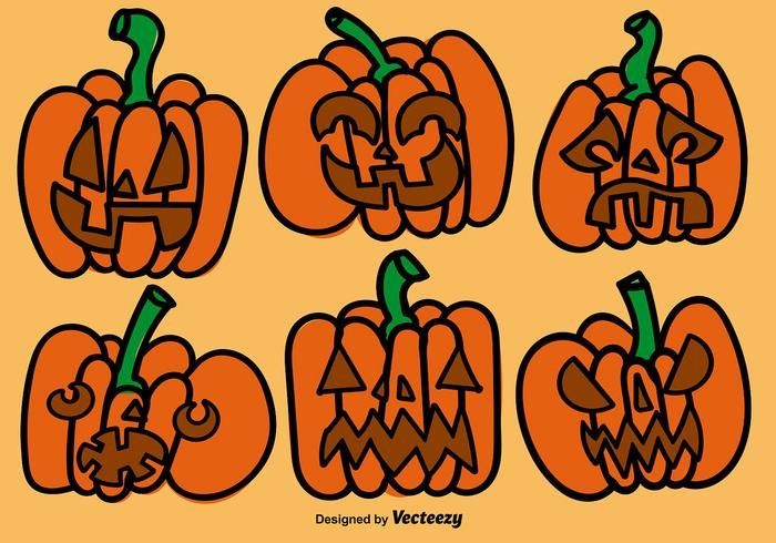 Cartoon Pumpkins Vector Set