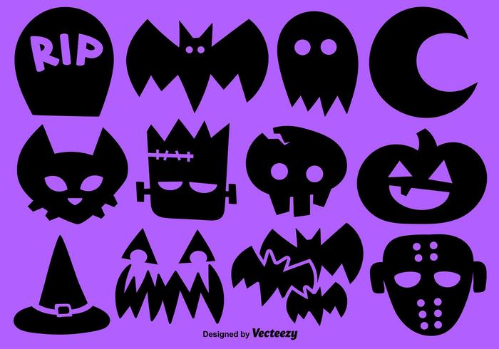 Vector Set Of 12 Halloween Icons