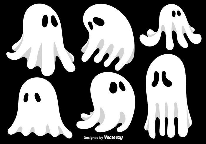 Cartoon Ghosts Vector Set