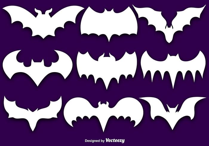 Vector Set Of White Bat Silhouettes