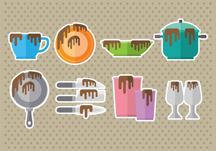 Dirty Dishes Icons vector