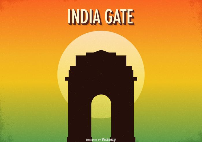Free Retro India Gate Vector Illustration