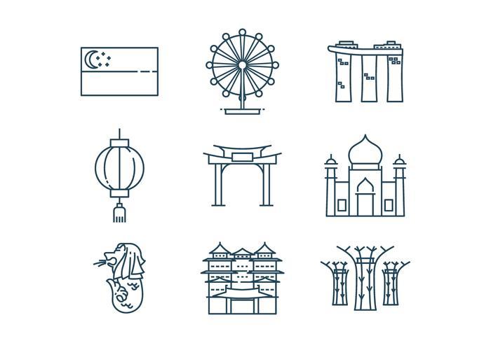Vector Icono De Singapur Libre